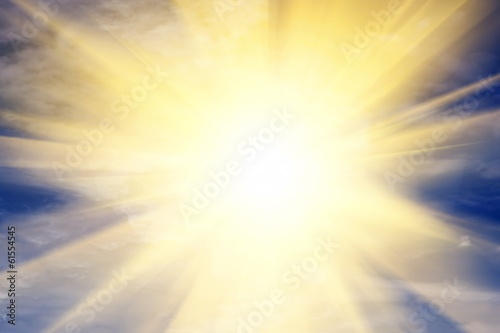 Explosion of light towards heaven, sun. Religion, God