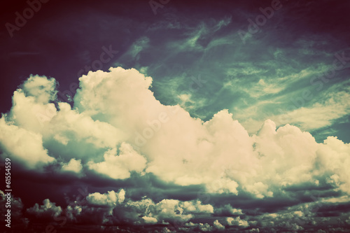 Sky with fluffy clouds. Retro, vintage style © Photocreo Bednarek
