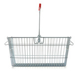 Empty wire shopping basket isolated on white