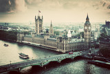 London, the UK. Big Ben, the Palace of Westminster. Vintage