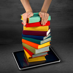 putting or download colorful books to the tablet
