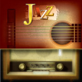 Abstract background with acoustic guitar and retro radio