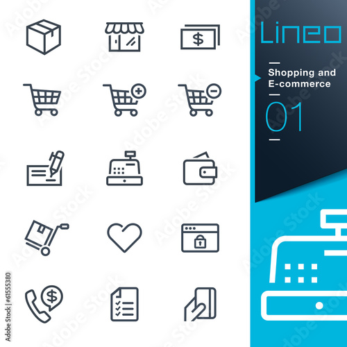 Fototapeta Lineo - Shopping and E-commerce outline icons