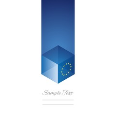 EU cube flag white background vector