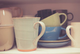 Crockery in cupboard