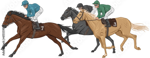 Three jockeys on their racehorses