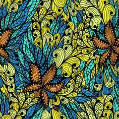 Seamless floral vintage fantasy bright doodle pattern