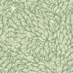 Seamless floral doodle pattern with nature elements