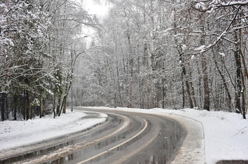 turn winter road in the forest zone