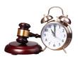 Judge gavel and Alarm Clock isolated on white background