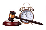 Judge gavel and Alarm Clock isolated