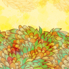 Hand drawn seamless summer card with fantasy flowers. Eps10