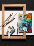 Painting set - brushes, paints, frame, blank canvas