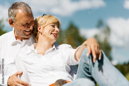 canvas print picture Happy senior couple outdoors in spring