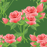 Seamless floral pattern with roses.