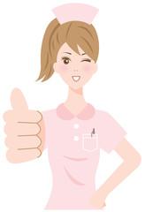 グッジョブサインの看護婦