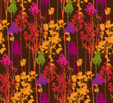 Pattern with colorful trees on brown background