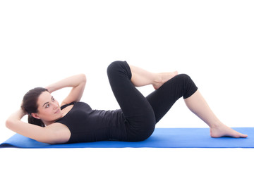 woman doing strength exercises for abdominal muscles isolated on