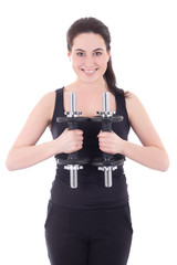 portrait of young attractive sporty woman with dumbbells isolate