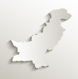 Pakistan map card paper 3D natural vector