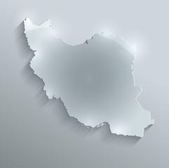 Iran map flag glass card paper 3D vector