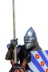 Armoured knight on warhorse