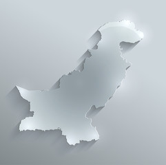 Pakistan map flag glass card paper 3D