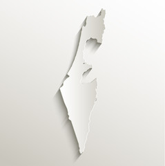 Israel map card paper 3D natural vector