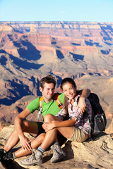 Hikers in Grand Canyon - Hiking couple portrait