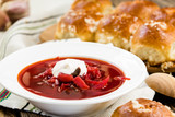 Traditional Ukrainian beetroot soup - red borsch