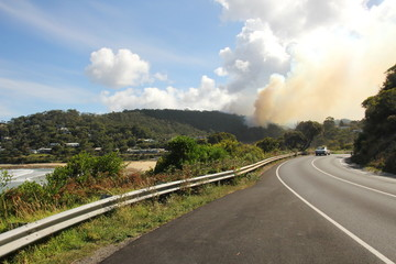 Bushfire on the Great Ocean Road, Australia