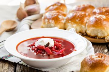 Traditional Ukrainian beetroot soup - red borsch