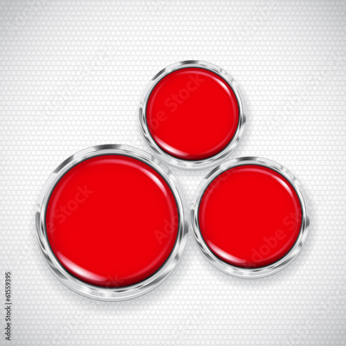 White background with small circles and three buttons