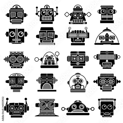 Retro Vintage Robot Heads