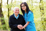 Kind Senior Lady with Nurse