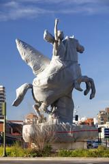 Wrapped pegasus statue