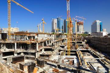 New construction site in the center of Tel Aviv.