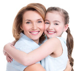 Closeup portrait of happy mother and young daughter - 61560935