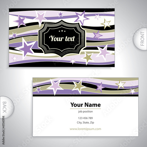 Universal business card with stars.