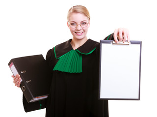 Woman lawyer attorney in polish gown holds clipboard blank