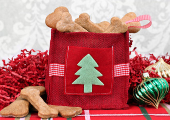 Homemade dog cookies in a decorative Christmas bag.