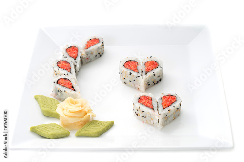 Sushi on white ceramic plate