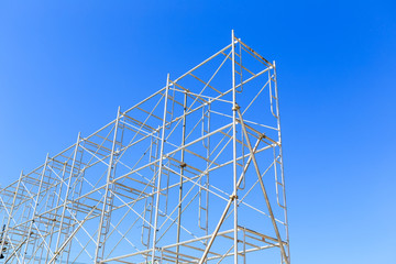 scaffolding on blue sky