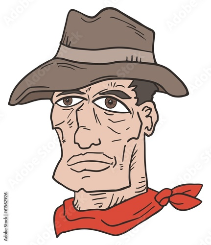 Western man face draw