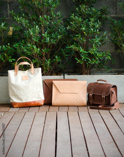 Fashion Leather Bags, Nature Background