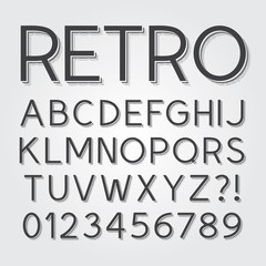 Abstract Vintage Retro Font and Numbers, Eps 10 Vector