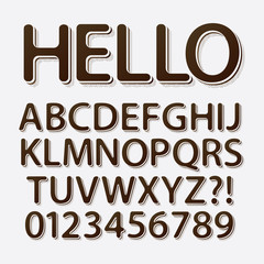 Rounded Vintage Retro Font and Numbers, Eps 10 Vector