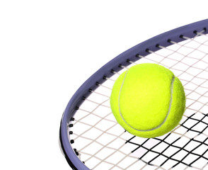 Tennis Ball and Racket isolated on white background. Closeup