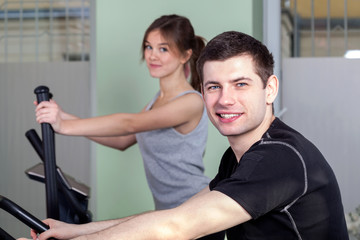 Exercises in fitness center