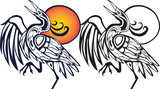 tribal bird illustration with sunset on white background